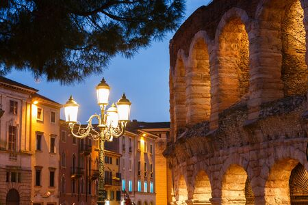 The wall of Verona Arena at evening time