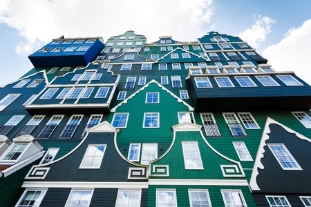 zaandam: Zaandam, Netherlands - July 02 2016: The great building of Inntel hotel, the famous house of traditional architecture in Dutch region Editorial