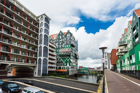 zaandam: Zaandam, Netherlands - July 02 2016: View of the Inntel hotel, the famous building of traditional architecture in Dutch region
