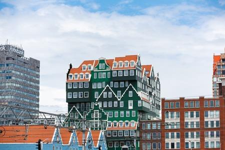 zaandam: Zaandam, Netherlands - 02 July 2016: View of the Inntel hotel, the famous building of traditional architecture in Dutch region