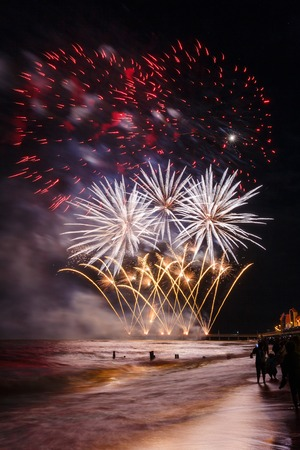 Fireworks over the Baltic sea in Zelenogradsk
