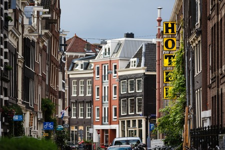 Amsterdam, Netherlands - July 03 2016: The Hans Brinker hotel, located on Kerkstraat street