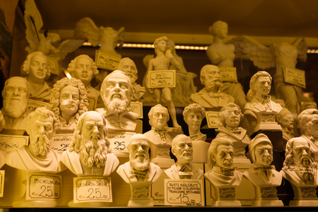 statuettes: Venice, Italy - May 05 2016: The statuettes in the window of a souvenir shop