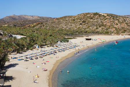 Vai Beach, Greece - October 13 2016: People are resting on the famous Vai beach in autumn time