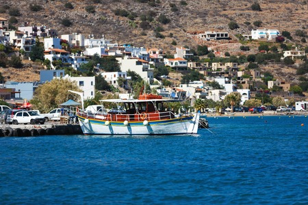 Elounda, Greece - October 14 2016: The cruise ships moored in the old port of spa town