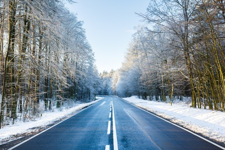 The road in a forest at winter time Stock Photo