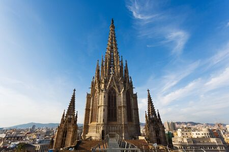View Of The Towers Gothic Church From Roof Barcelona Stock