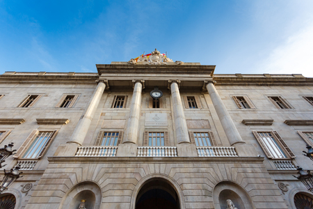 Barcelona, Spain - January 02 2017: Cityhall of Barcelona, located at the Plaza de Sant Jaume in the Gothic Quarter