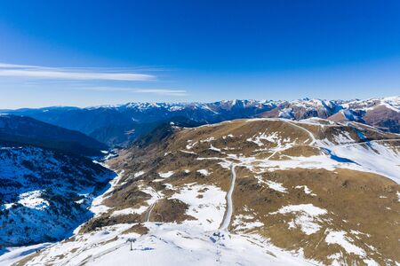 The mountain landscape in Andorra in winter Stock Photo