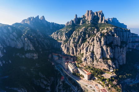 Montserrat Monastery in the spanish mountains, view from above