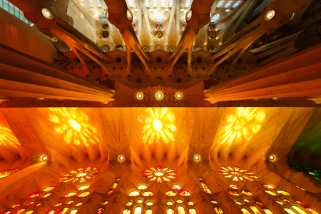 Barcelona, Spain - January 04 2017: Colourful interior of the Church of La Sagrada Familia in Barcelona