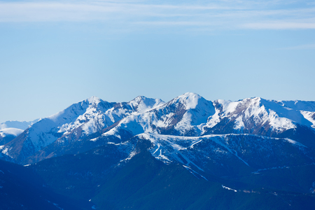 Landscape of Pyrenees mountains at winter time