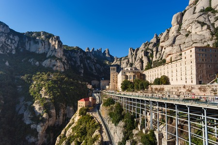 Benedictine monastery of Santa Maria de Montserrat in Spain, view from the observation point