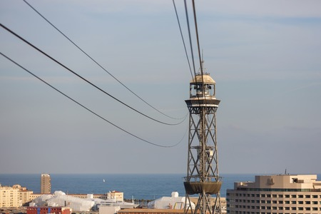 Tower of the Montjuic Cable Car in Barcelona, Spain Editorial
