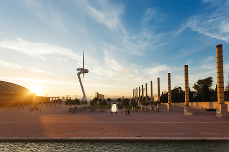 montjuic: Barcelona, Spain - January 07 2017: The Montjuic communications tower in the olympic village at sunset time Editorial
