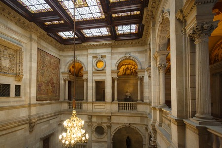 Barcelona, Spain - January 08 2017: The interior of the room in a public section of city hall, that is opened for people visiting every Sunday