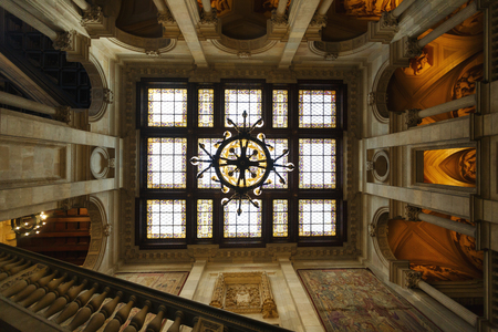 Barcelona, Spain - January 08 2017: The dome of the room in a public section of city hall, that is opened for people visiting every Sunday