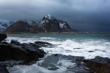 Seashore of Lofoten islands in winter time Stock Photo