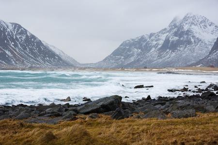 The Scagsanden beach in Lofoten islands in winter