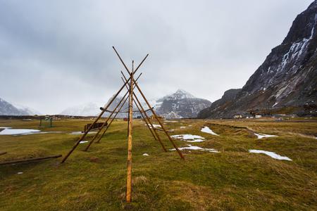 rack mount: Fishing construction on the Scagsanden beach in Lofoten islands in winter
