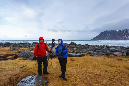 rack mount: Family of photographers on the Scagsanden beach in Lofoten islands