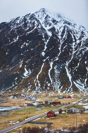 Fishing village in the foothills of Lofoten, Norway Stock Photo
