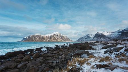 The Skagsanden beach in the Lofoten islands in winter