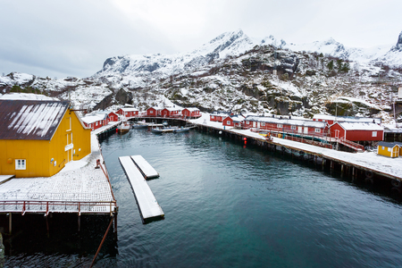 The traditional wooden cabins in Nusfjord fishing village in the Lofoten Islands in winter