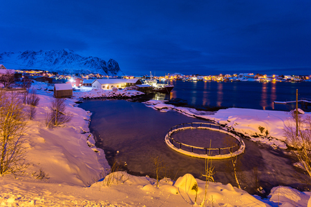 rack mount: Night view of the fish processing plant in Reine village, winter time