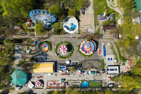 Aerial view of the amusement park in the central park of Kaliningrad