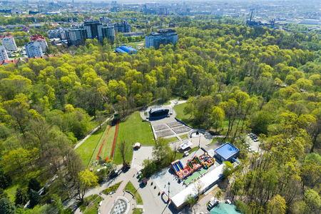 Aerial view of the summerstage in the central park of Kaliningrad Editorial