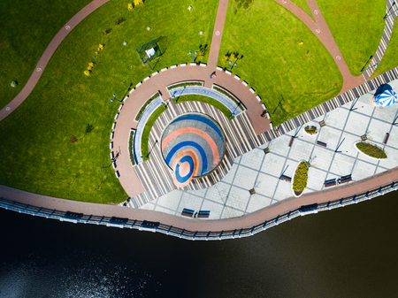 Aerial view of the amusement park on the embankment of Upper Lake in Kaliningrad, Russia
