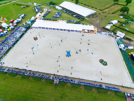 birdeye: Sopot, Poland - June 10 2017: Aerial view of the arena during the CSIO Sopot 2017 competition Editorial