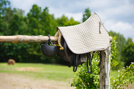 Attributes hobby horse rider on a wooden fence in summer