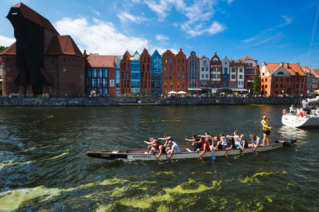 Gdansk, Poland - July 22 2017: People are training in kayak on the river in old town of Gdansk in summer