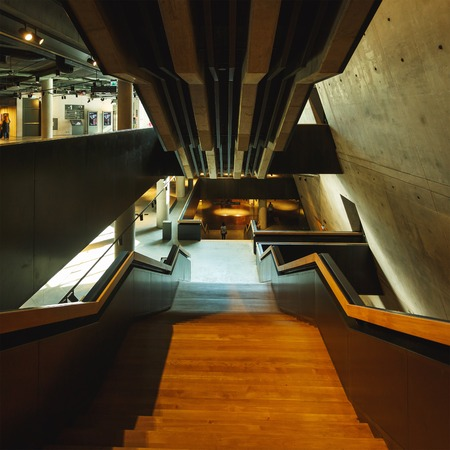world war ii: Gdansk, Poland - July 22 2017: Staircase to zero floor of the Museum of the Second World War