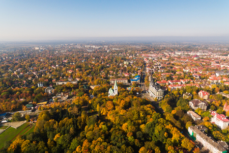 Aerialo view of the Kaliningrad Puppet Theatre, the building was originally the Queen Louise Memorial Church in Kenigsberg, autumn time