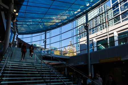 Amsterdam, Netherlands - September 23 2017: Modern glass interior of the Van Gogh Museum at sunny day