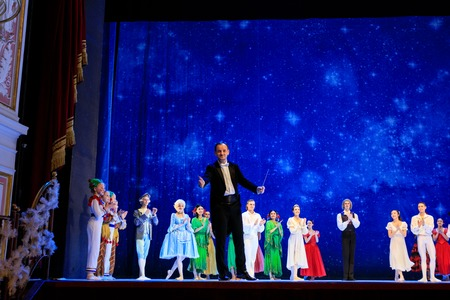 Wroclaw, Poland - January 04 2018: Actors are coming to applause at the end of the ballet Nutcracker at the stage of the Wroclaw Opera House