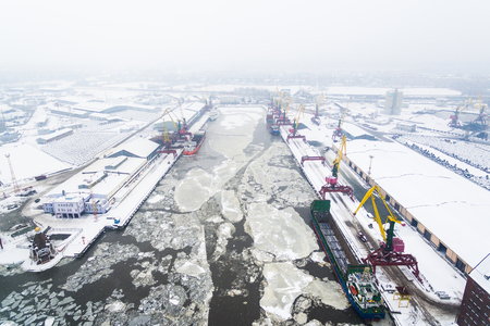 Aerial: The port of Kaliningrad in the cold winter Reklamní fotografie