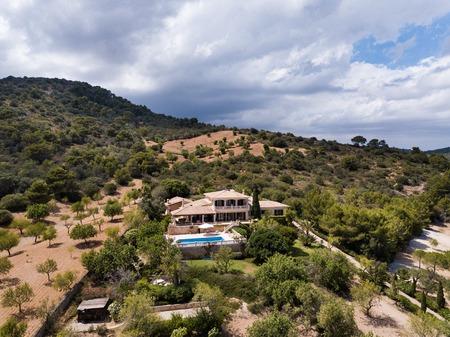 Aerial: Luxury house in Mallorca Stock Photo