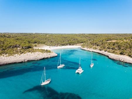 Aerial: The beach of Cala Mondrago in Mallorca, Spain Stock Photo