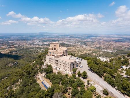 Aerial: The old monastery on the Saint Salvador mountain in Mallorca, Spain