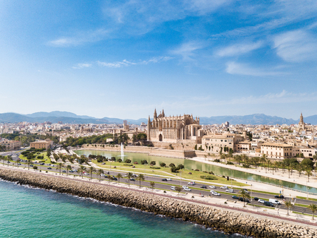 Aerial: Cityscape of Palma de Mallorca, Spain Stock Photo