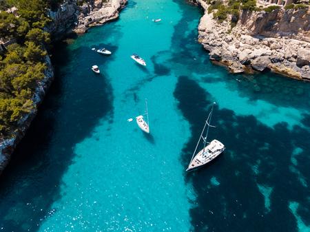 Aerial: Cala Llombards beach in Mallorca, Spain