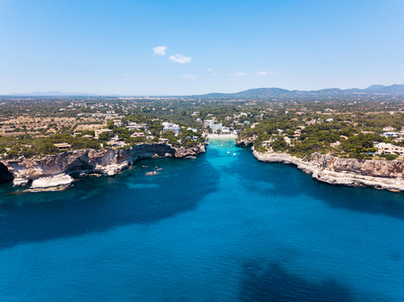 Aerial: Cala Santanyi beach in Mallorca, Spain Stock Photo