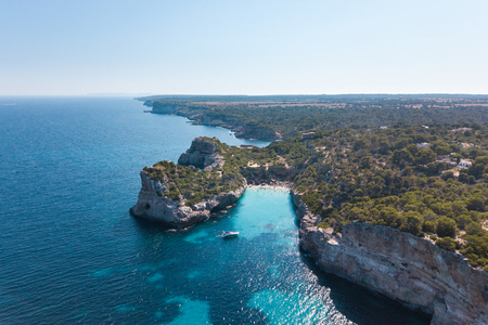 Aerial: Cala des Moro, beach of Mallorca, Spain