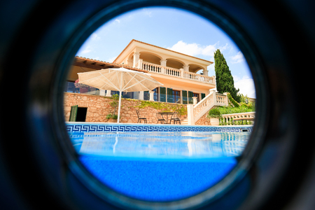 The private spanish house through the spyglass Stock Photo
