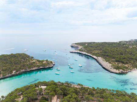 Cala Mondrago beach in Mallorca, Spain, view from above