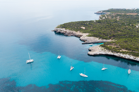 Yachts in the bay of Mallorca, Spain, view from above